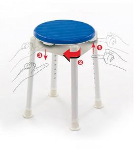 Taburete giratorio para bañera y para ducha para personas mayores o con discapacidad