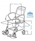 Medidas de la silla para baño con ruedas para niños con discapacidad- Augsburg