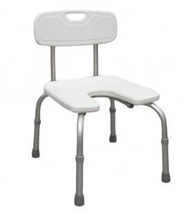 Silla para baño y ducha en herradura y con respaldo para personas mayores y con discapacidad