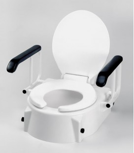 Alza WC con tapa inclinable y reposabrazos abatibles