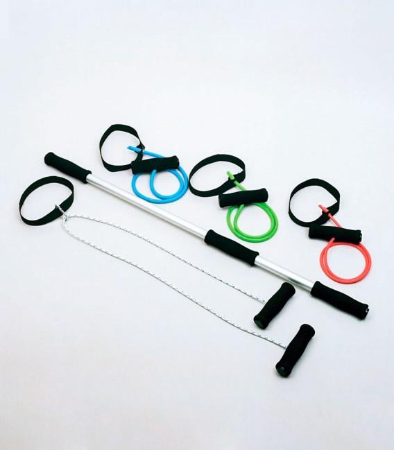 Kit Rehabilitación de hombros KISS. Ejercitadores de hombros, cintas de resistencia y barra