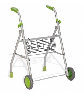 Andador ligero con ruedas, para personas mayores o con discapacidad, verde