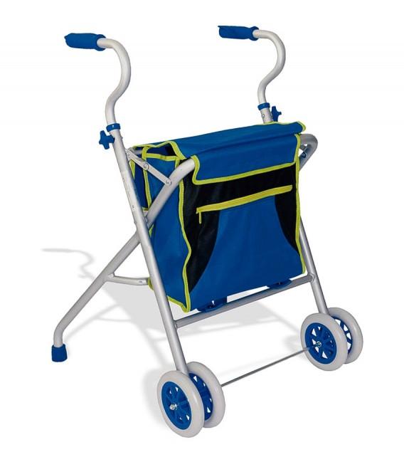 Andador de aluminio ligero, con bolsa grande porta objetos azul y verde. Cuatro ruedas delanteras. Para personas mayores