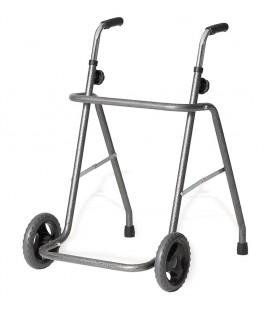 Andador plegable de acero, con dos ruedas delanteras tipo trial. Muy resistente y manejable, para personas mayores