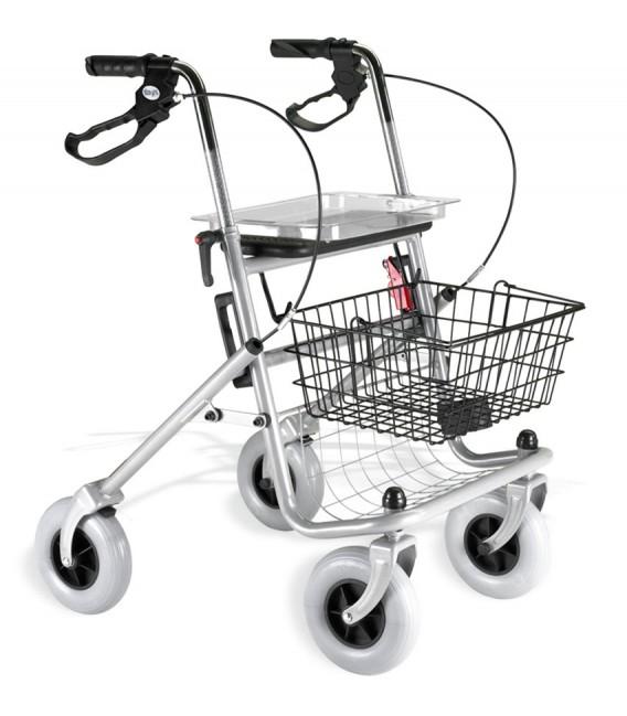 Andador ROLATOR PLEGABLE POLIVALENTE, con frenos, bandeja, cesta y red. 4 ruedas, en color gris plata