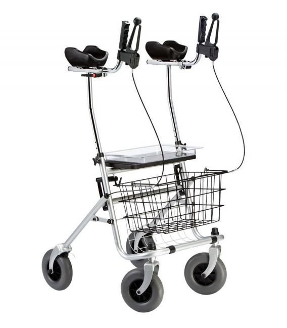Andador para personas con ARTRITIS, con apoyabrazos altos, frenos, bandeja, cesta y des. Con 4 ruedas en color gris plateado