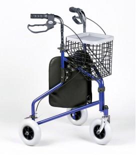 Andador extra manejable de tres ruedas, con frenos, cesta y bolsa portaobjetos, en color azul, para personas mayores - Delta