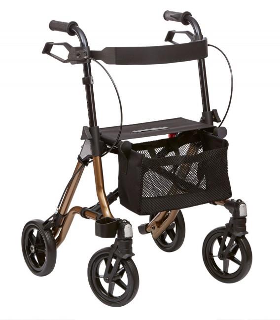 Andador ROLATOR LIGERO dorado, con 4 ruedas, cesta porta objetos y asiento de tela. Diseño moderno - TAiMA