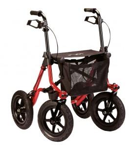 Andador ROLATOR TAiMA XL Con ruedas todoterreno grandes, frenos, cesta de tela portaobjetos, en color rojo y diseño