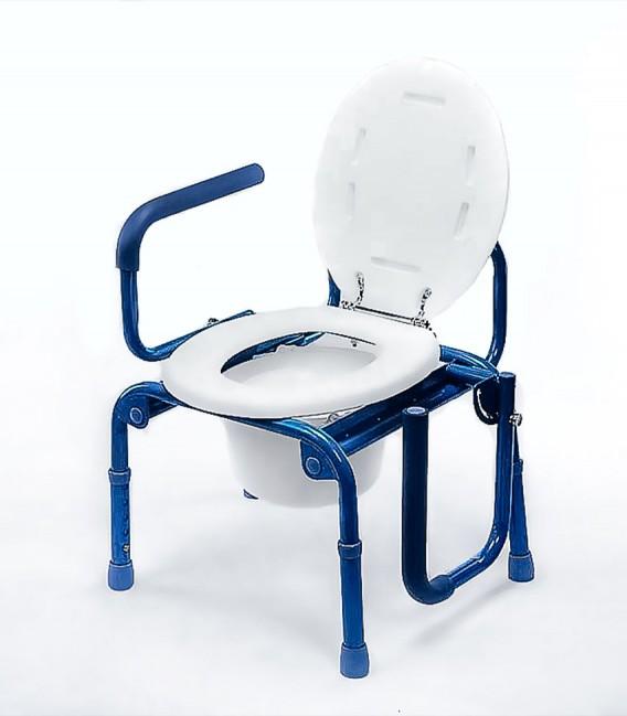 Silla WC con tapa y con reposabrazos abatibles