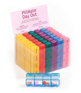 Expositor de 36 unidades de pastillero pequeño con 4 compartimentos para organizar la medicación diaria