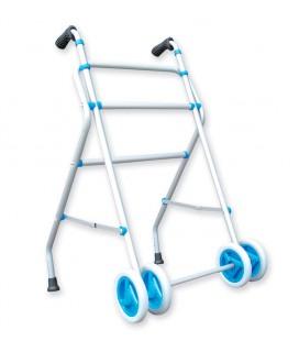 Andador de aluminio muy ligero con ruedas delanteras para ayudar a caminar a las personas mayores o con discapacidad