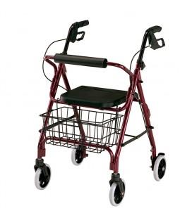Andador rollator con freno, color granate. De apoyo al andar para personas mayores o con discapacidad