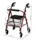 Medidas del andador rollator con freno, color granate. De apoyo al andar para personas mayores o con discapacidad