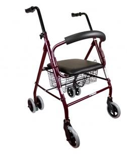 Andador de aluminio plegable con ruedas y asiento acolchado, de apoyo al andar para personas mayores