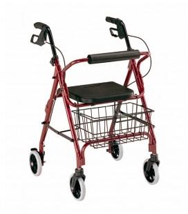 Andador con frenos, cesa y asiento acolchado, rojo.