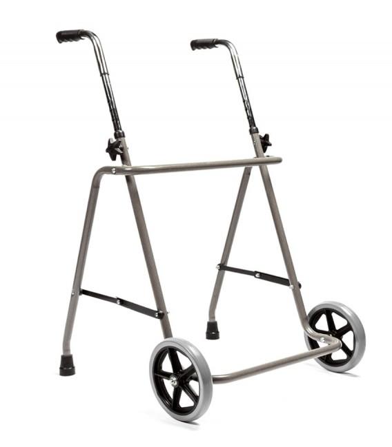 Andador sencillo con dos ruedas, de apoyo al caminar para personas mayores