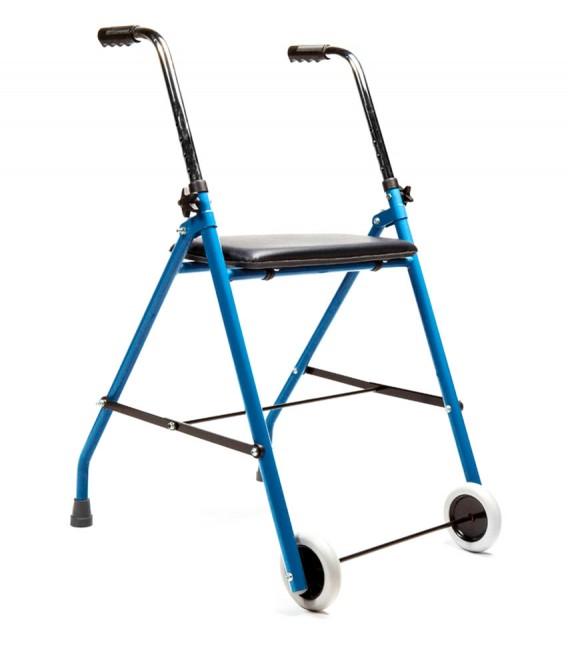 Andador sencillo azul con dos ruedas y asiento acolchado