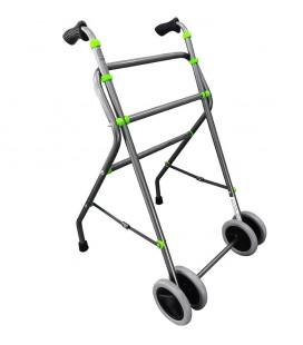 Andador sencillo de dos ruedas gris y verde