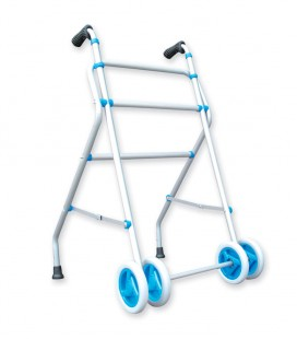 Andador de aluminio con ruedas delanteras, gris y azul