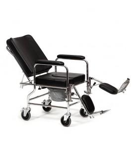 Silla de ruedas reclinada para interior con orinal, con respaldo y reposapies reclinables en posición reclinada