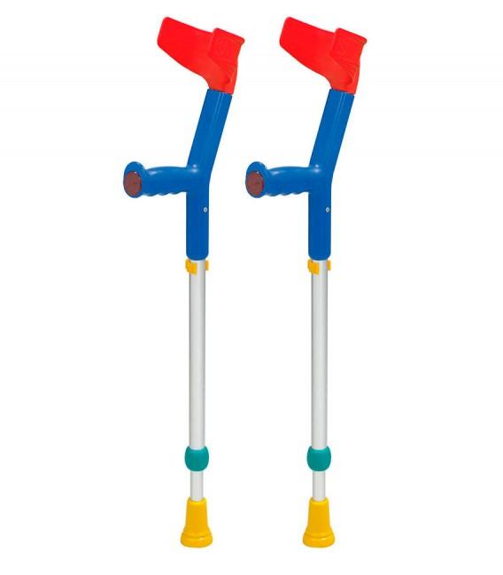 Muletas infantiles azules y rojas