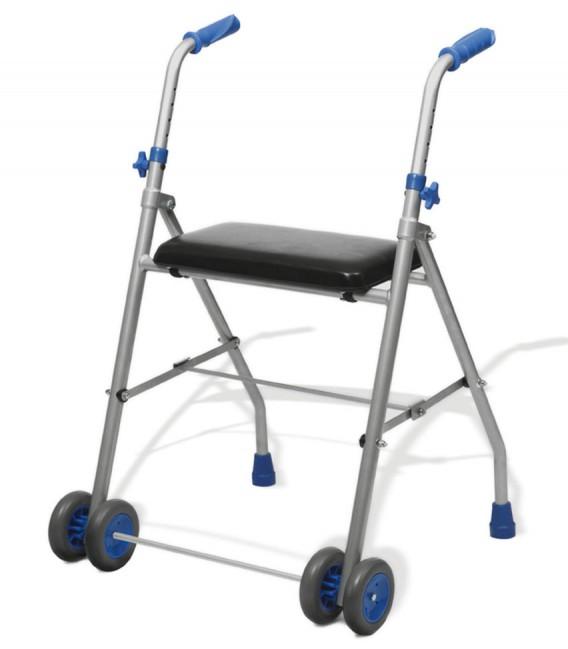 Andador de aluminio ligero, con cuatro ruedas delanteras y asiento acolchado. Gris y azul. Para personas mayores