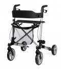 Andador Rolator plegable de 4 ruedas, cesta, asiento y respaldo de tela, gris y negro - Taurus 2