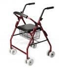 Andador Rolator Roler con 8 ruedas, cesta metálica y asiento acolchado, color rojo