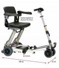 Scooter Luggie de aluminio, ligero, plegable y regulable en altura - medidas del scooter