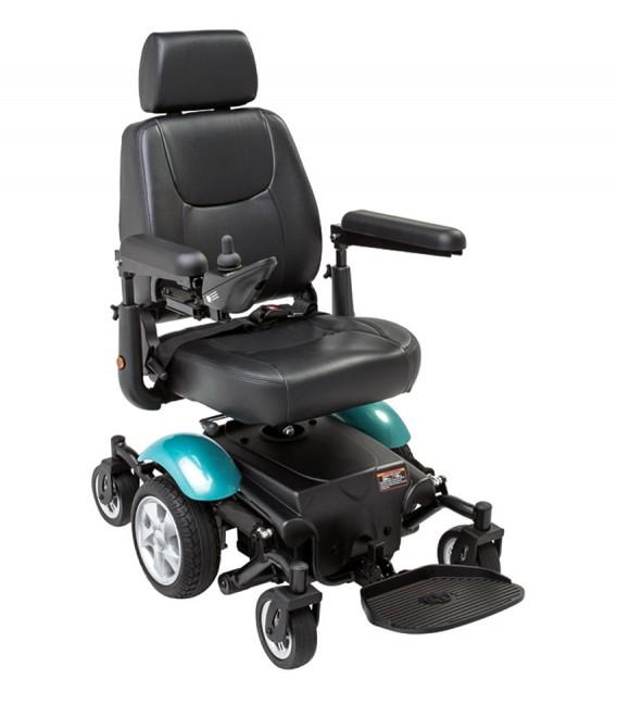 Silla de ruedas eléctrica compacta de tracción central con el kit azul
