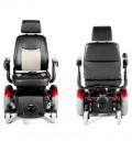Silla de ruedas eléctrica robusta con tracción central vista frontal y posterior