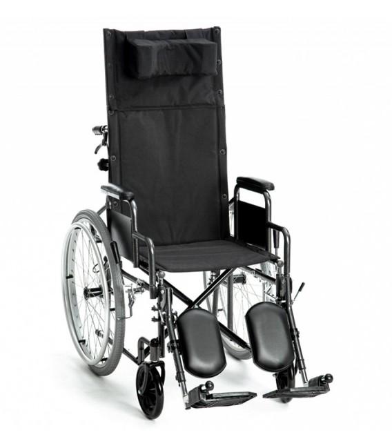 Silla de ruedas reclinable con ruedas traseras grandes para autopropulsarse.
