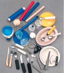 Kit utensilios adaptados para comer, para personas con movilidad reducida