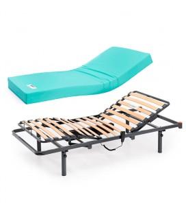 Cama VITA asistencial para domicilio - Somier y patas regulables ariostadas + colchón visco Eco Pur