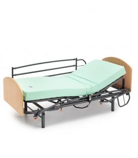 Cama GERIA con patas regulables arriostradas + CABECERO Y PIECERO + BARANDILLAS ABATIBLES de 3 tubos+ colchón visco eco pur