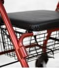 Andador con frenos, cesa y asiento acolchado, rojo. asiento-acolchado