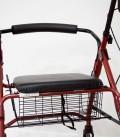 Andador con frenos, cesa y asiento acolchado, rojo. cesta-1