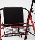 Andador con frenos, cesta y asiento acolchado, rojo. cesta-2