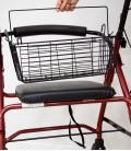 Andador con frenos, cesta y asiento acolchado, rojo. cesta-3