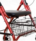 Andador con frenos, cesta y asiento acolchado, rojo. detalle-cesta-delantera
