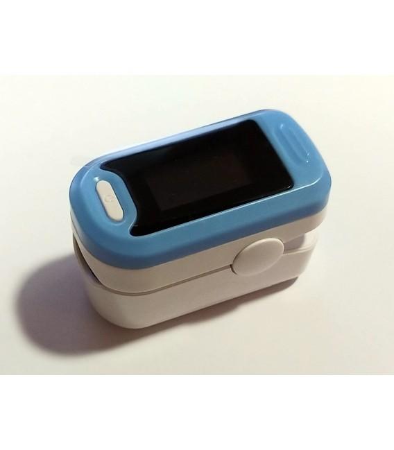 Pulsioxímetro de dedo para medir la saturación de oxígeno - Caja y oxímetro