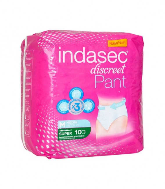 INDASEC PANT SP Pañal incontinencia super M80-110 10 - envase frontal