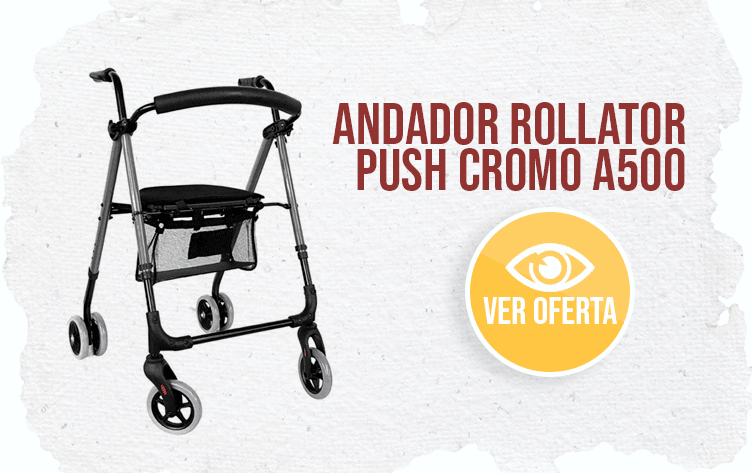 banner Andador Rollator Premium Push Cromo A500