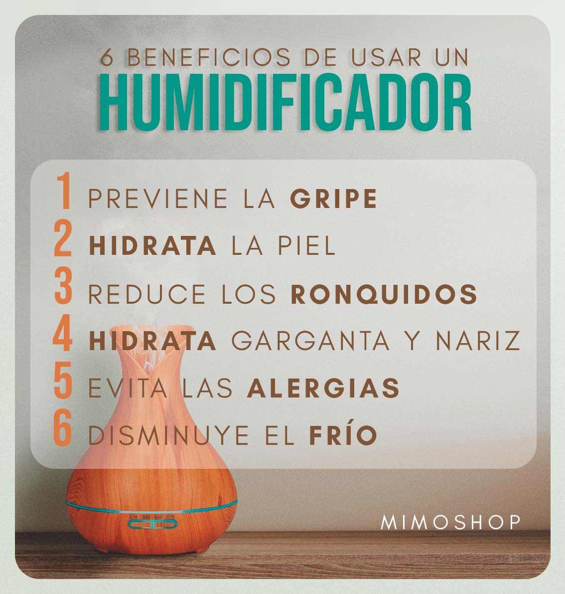 infografia con los 6 beneficios de utilizar un humidificador