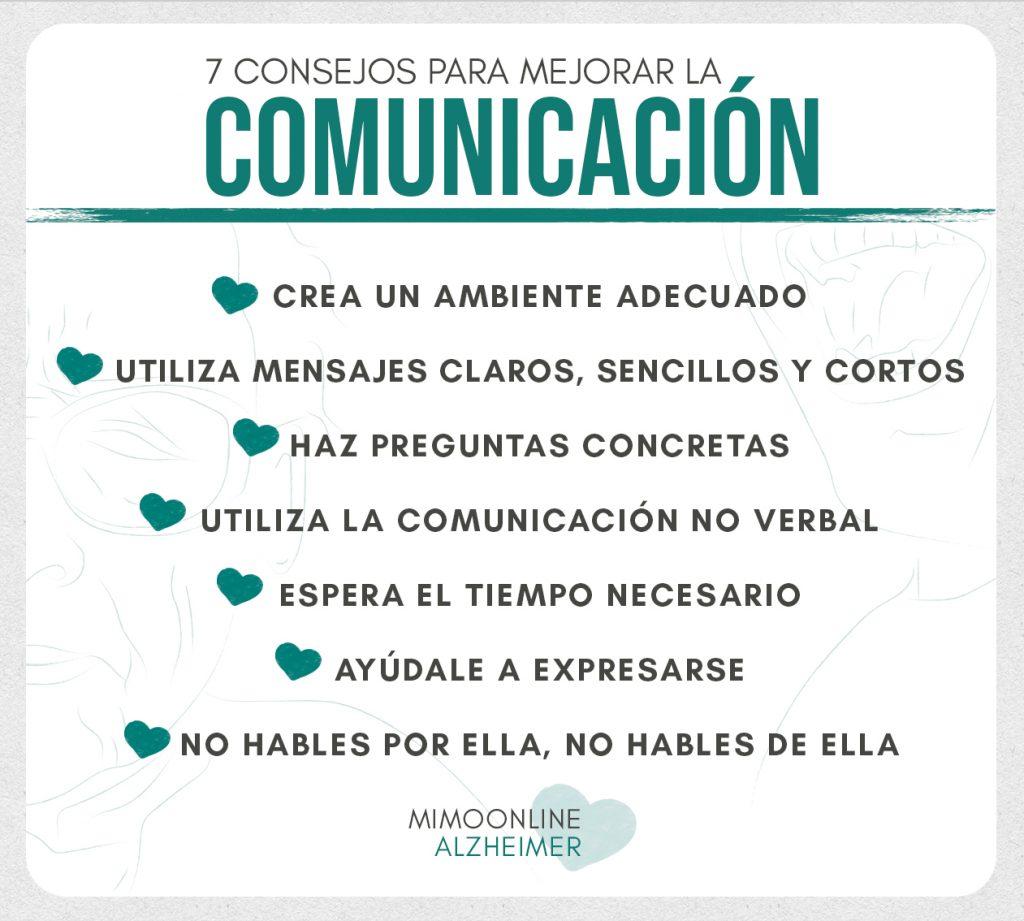 infografía con 7 consejos para mejorar la comunicación con una persona con la enfermedad de alzheimer